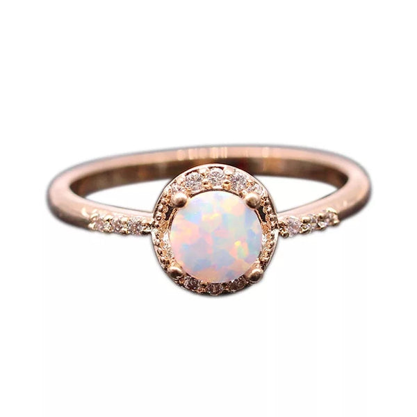 Opal stone Rose gold Ring - HNS Studio