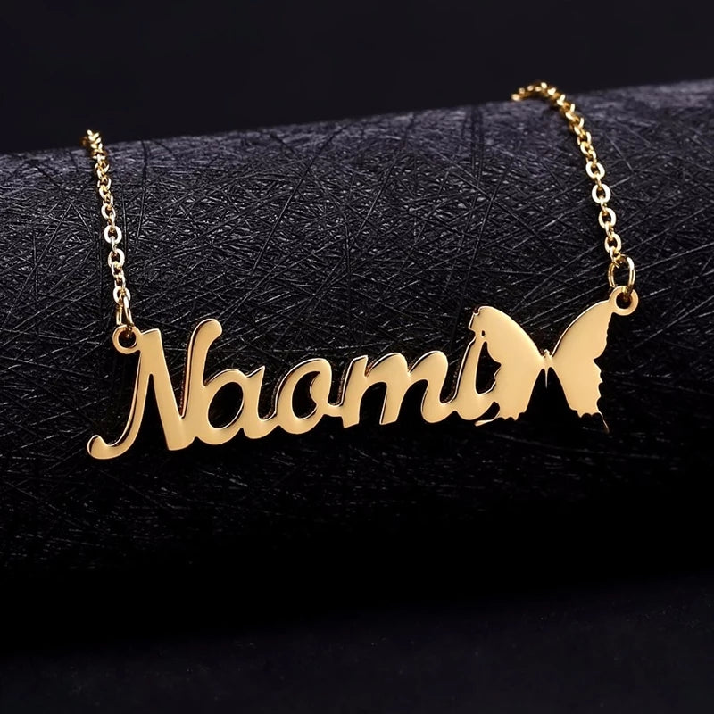 Custom Name Necklace with Butterfly