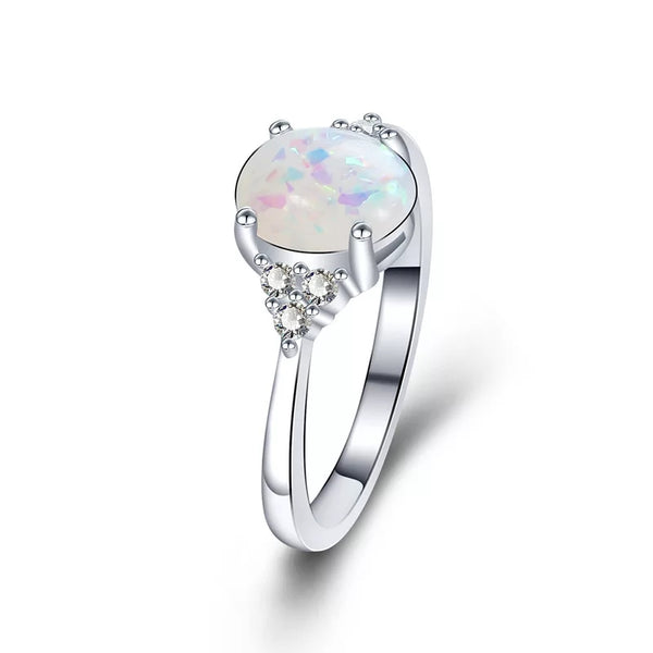 925 Sterling Silver White Opal Ring