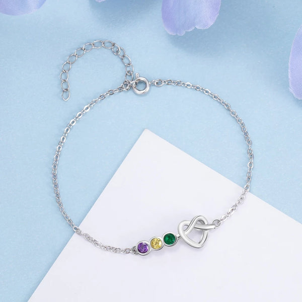 Personalized Love Knot Bracelet with Birthstones
