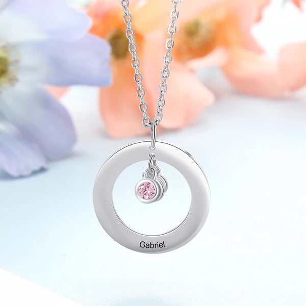 Family Name Necklace with Birthstone