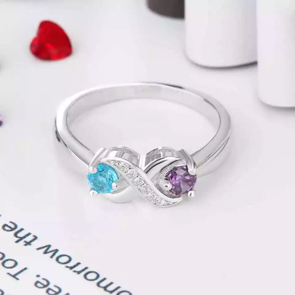 Personalized Infinity Sterling Silver Ring with Birthstones and Names - HNS Studio