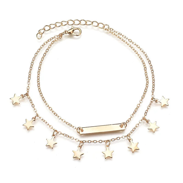 Gold plated Multi layer anklet - HNS Studio