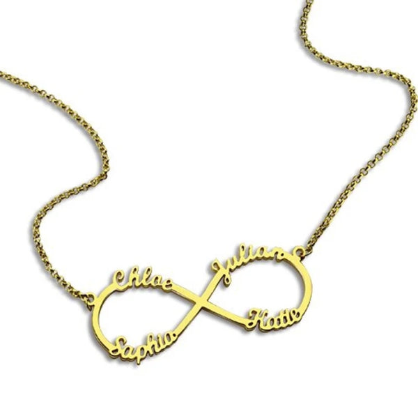 Personalized Name Infinity Necklace with 4 Names - HNS Studio