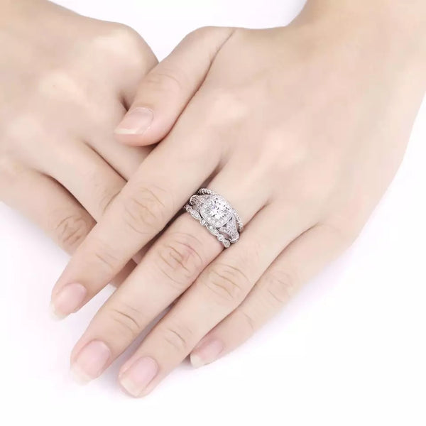 2.0 Carat  AAA CZ Three-Piece Wedding Set Sterling Silver
