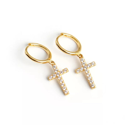 Cubic Zirconia Cross Huggie Hoops