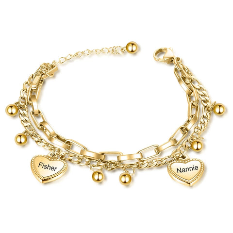 Personalized Two Names Heart Bracelet