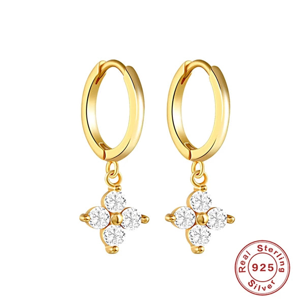 Flower CZ dangle hoop earrings