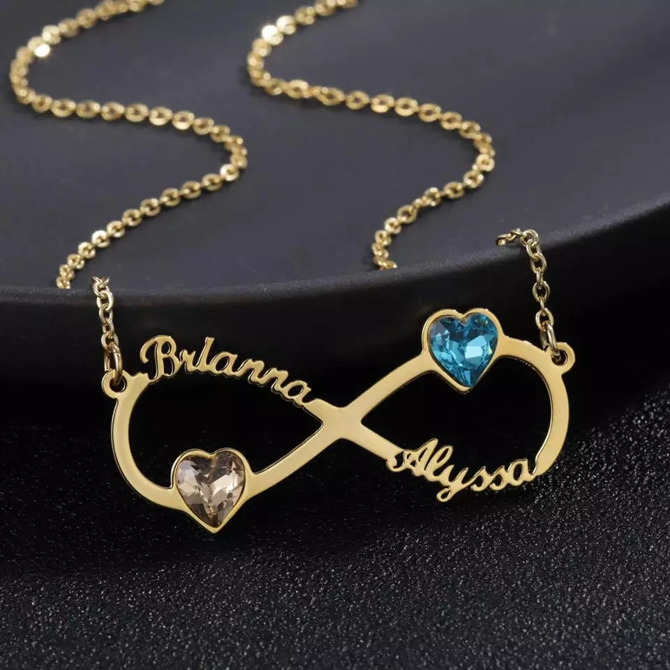 Infinity Necklace with Two Names and Birthstones
