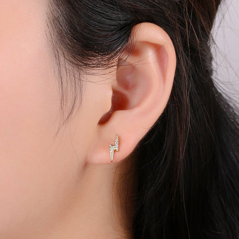 Dainty CZ Lightning Bolt Stud Earrings