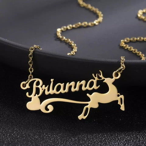 Elk Deer Name Necklace