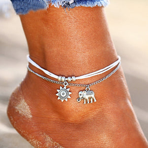 Elephant and Sun Layered Anklet HNS Studio Canada