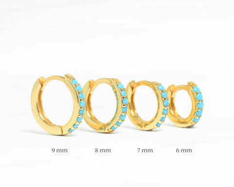 Turquoise Sterling Silver Huggie Hoop Earrings