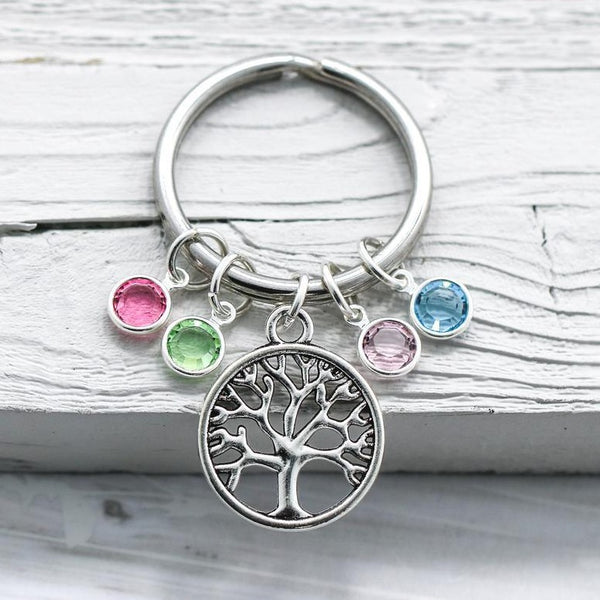 Family Tree Keychain with Birthstones  HNS Studio