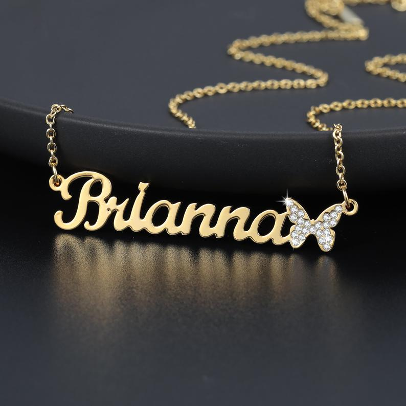 Personalized Custom Name Bling Iced Out Butterfly
