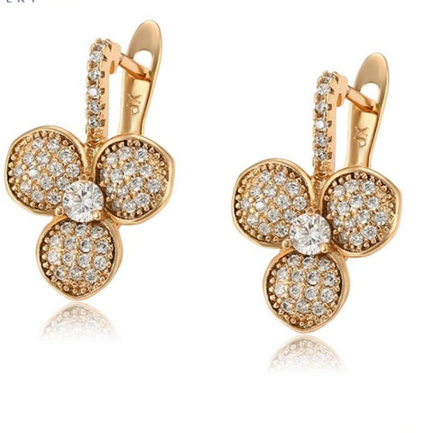 Pave CZ Gold Earrings