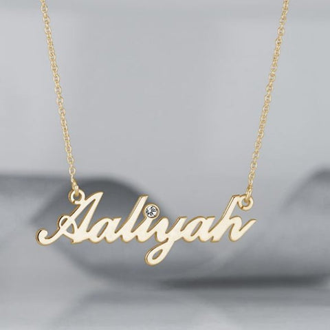 Sterling Silver Name Necklace with Birthstone