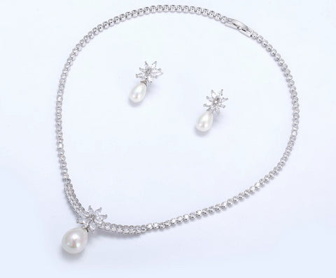 Pearl and Cubic Zirconia Necklace and Earring Set