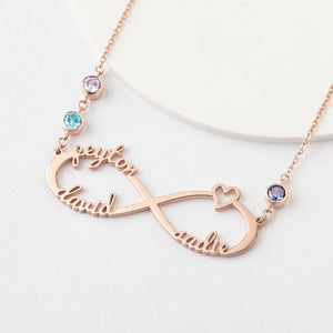 Infinity Names and Birthstones Necklace HNS Studio Canada