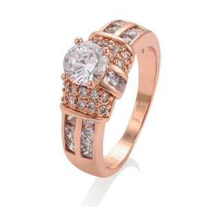 Rose Gold Ring with work of Cubic Zirconia - HNS Studio