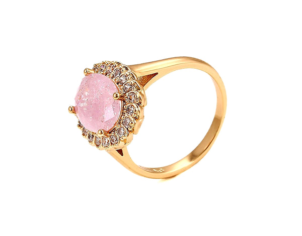 Gold Plated Ring with Pink quartz stone - HNS Studio