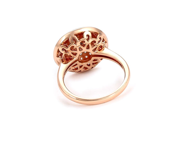 Rose Gold Ring with Fine Work of Cubic Zirconia - HNS Studio