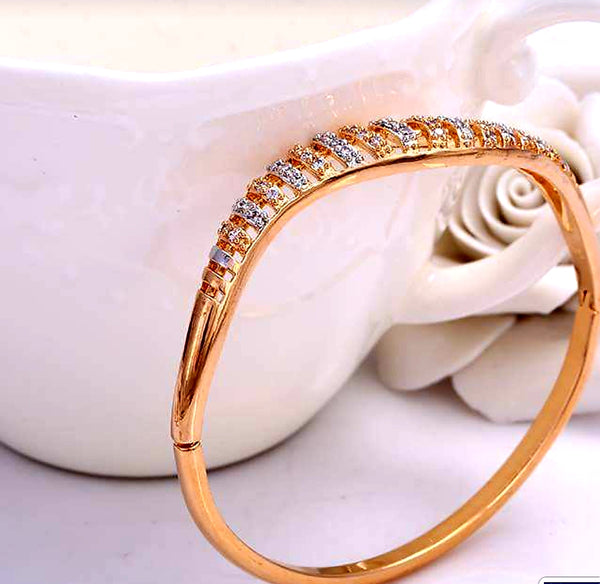 18K Gold Plated Cubic Zircon Bangle - HNS Studio