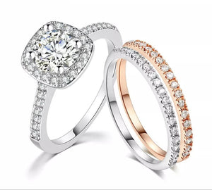 Silver CZ Engagement Wedding Ring Set - HNS Studio