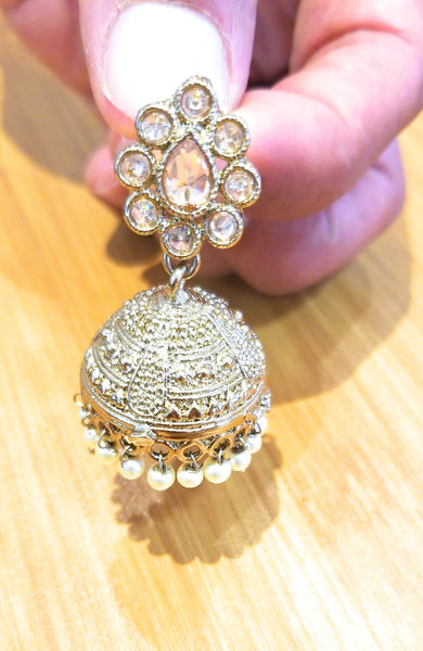 Ethnic Design Gold Jhumkis - HNS Studio
