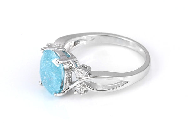 Aquamarine March Birthstone Ring in Silver - HNS Studio