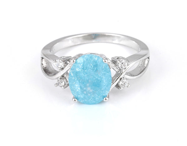Aquamarine March Birthstone Ring in Silver