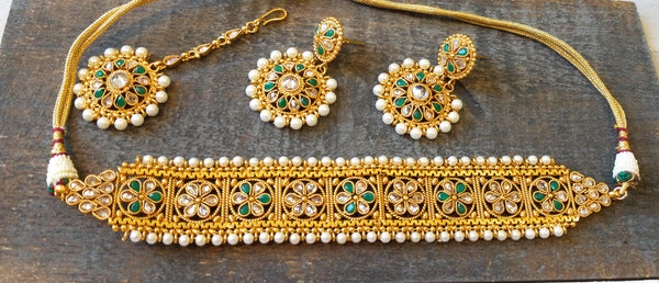 Golden Polki Necklace, Green Tumbled Drop Earrings and Maang Tikka Set - HNS Studio