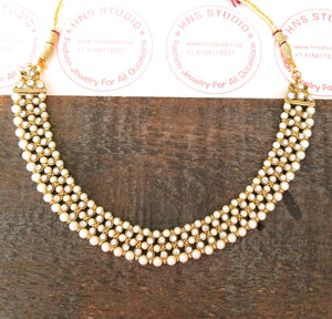 Ethnnic Choker With Champagne stones and Pearls - HNS Studio