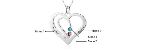 Personalized Names Heart Sterling Silver Necklace with Engraving - HNS Studio