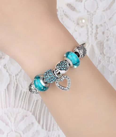 Silver Charm Bangle Bracelet with Blue European Beads - HNS Studio