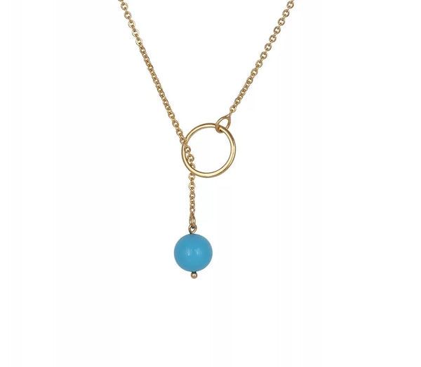 Y shaped Blue Pendant Gold Plated Lariat Necklace