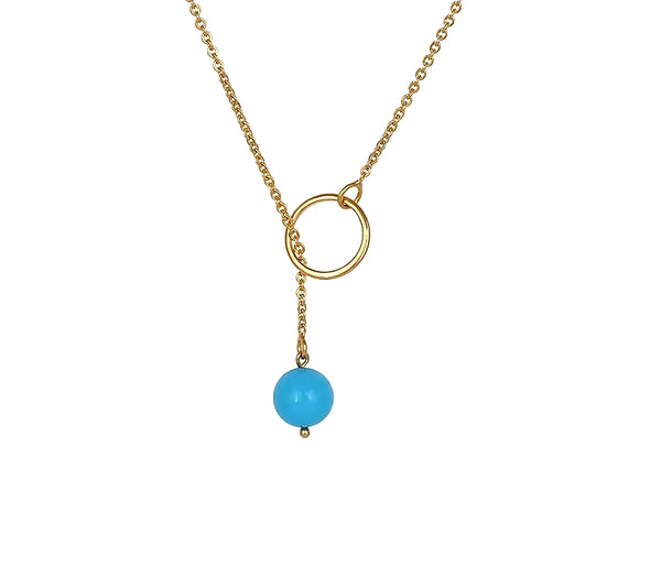 Y shaped Blue Pendant Gold Plated Lariat Necklace - HNS Studio