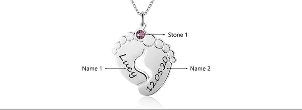 Engraved Baby Feet Family Necklace With Birthstone Sterling Silver - HNS Studio