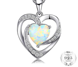Opal birthstone Pendant necklace Sterling Silver - HNS Studio