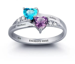 Personalized Sterling Silver Ring with Birthstones and Names - HNS Studio