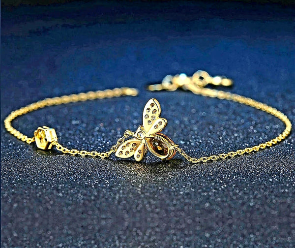 14K Gold plated Sterling Silver Honey Bee Bracelet - HNS Studio