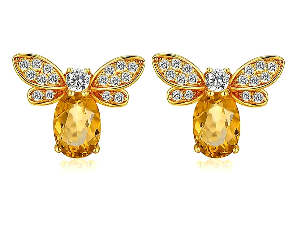 Sterling Silver 14k Gold plated Honey Bee Earrings with Citrine stone - HNS Studio