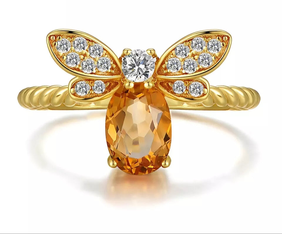 Citrine Sterling Silver 14K Gold plated Honey Bee Ring - HNS Studio