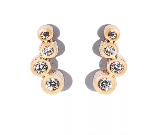 Gold Tiny Climber Earrings - HNS Studio