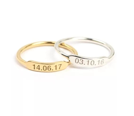 Personalized Bar Ring with Engraving - HNS Studio