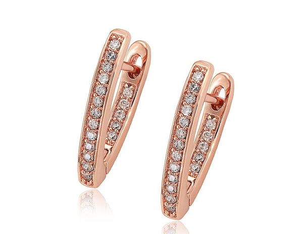 14K Rose Gold Plated Cubic Zirconia Hoops - HNS Studio