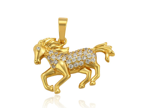 14k Gold Plated Horse Pendant Necklace - HNS Studio