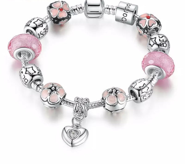 Pink Beads Charm Bracelet with Heart Pendant - HNS Studio