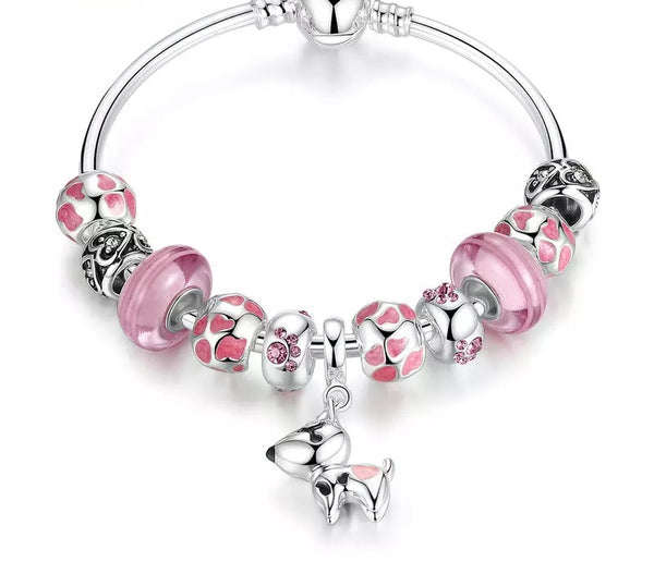 Pink Silver Charms bracelet with Cute Dog Charm - HNS Studio