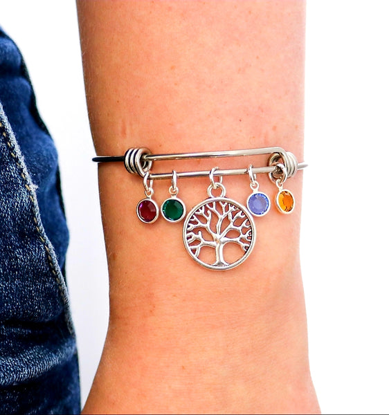 Tree of life Family Birthstones Mom bracelet - HNS Studio